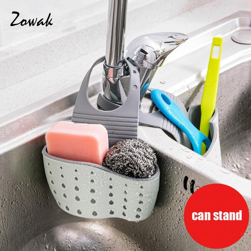 Hanging Storage Bag Adjustable Double Layer Sponge Holder Sink Faucet Gadget Strainer Shelf Drain Rack Basket Kitchen Bathroom