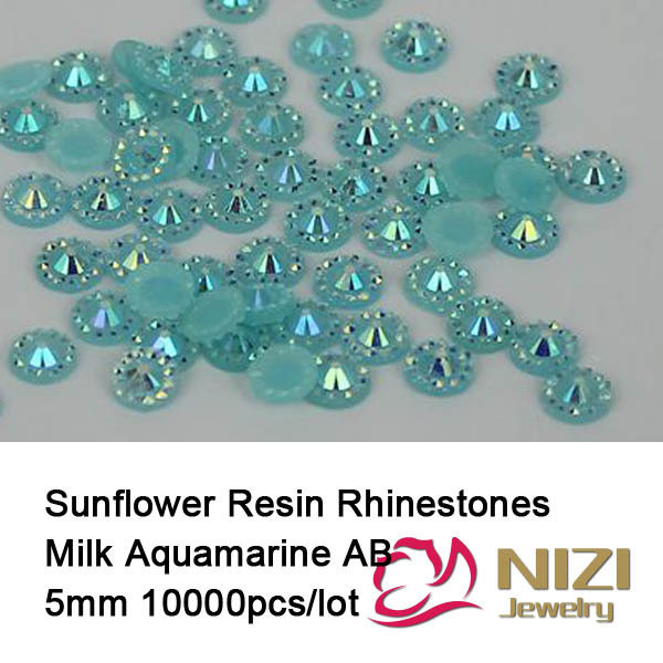 5mm Jelly Flatback Resin Round Rhinestones Milk Aquamarine AB Facets Candy Beads Used For DIY Nail Art Phone Cases Decoration