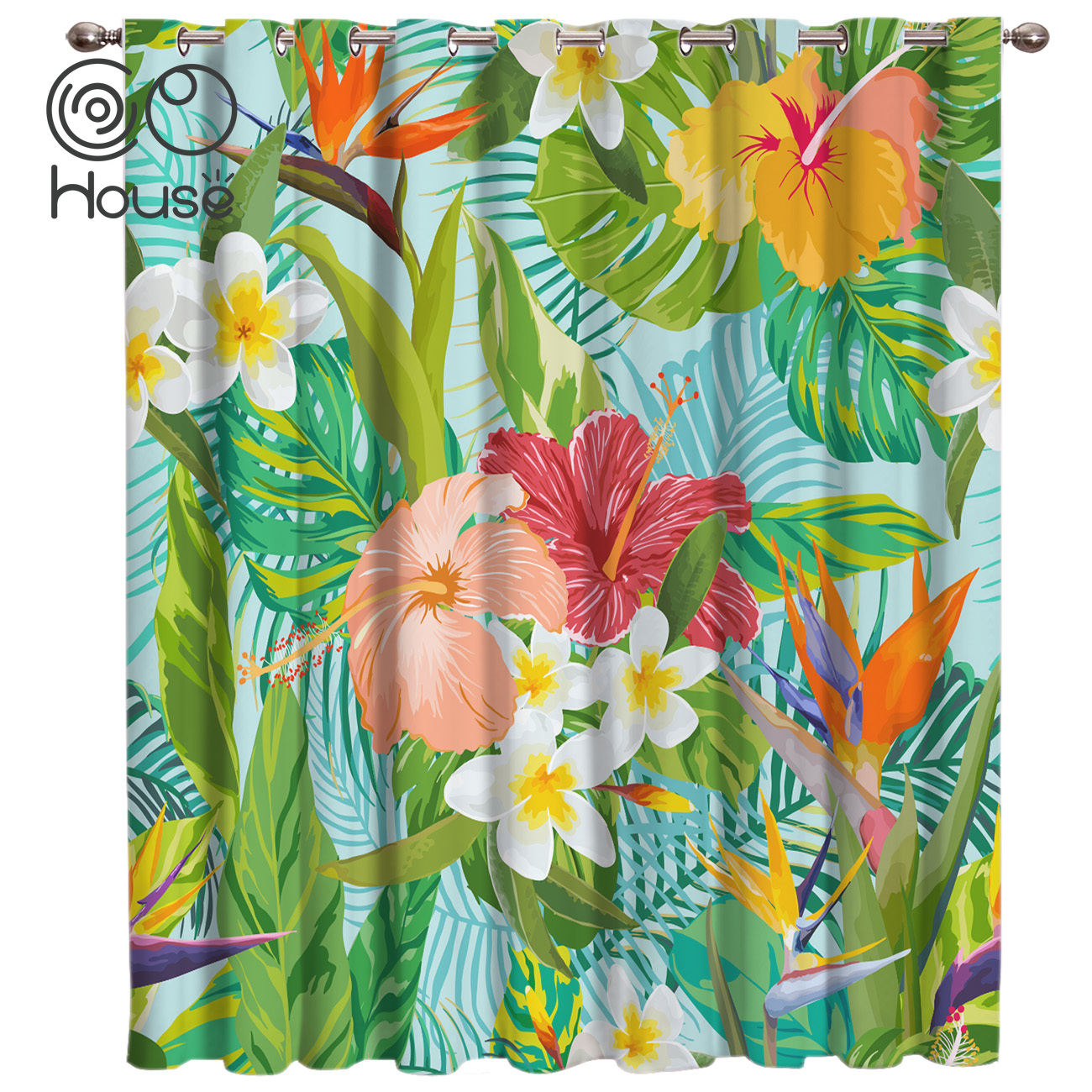 COCOHouse Tropical Flower Leaf Background Window Treatments Curtains Valance Room Curtains Large Window Living Room Blackout Bat