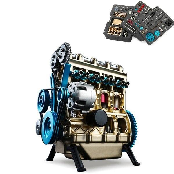 Новое поступление Teching 1:24 четырьмя цилиндрами Двигатели для автомобиля Полный алюминиевый сплав модель коллекции развивающие Игрушечные л...