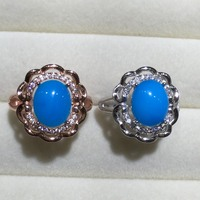 Haleigha 925 Sterling Silver Real Semi Gemstone Blue Turquoise White Rose Gold Color Halo Flower Split