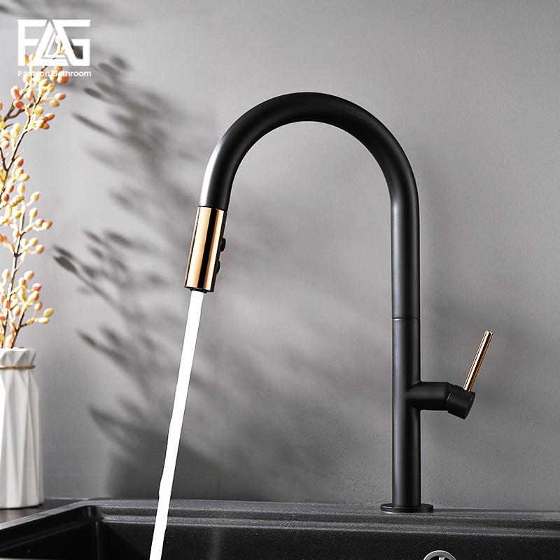 FLG Kitchen faucets Pull Down kitchen Mixer Black White Style Tap Gold Single Handle Brass Sink faucet 1074-33BGFLG Kitchen faucets Pull Down kitchen Mixer Black White Style Tap Gold Single Handle Brass Sink faucet 1074-33BG