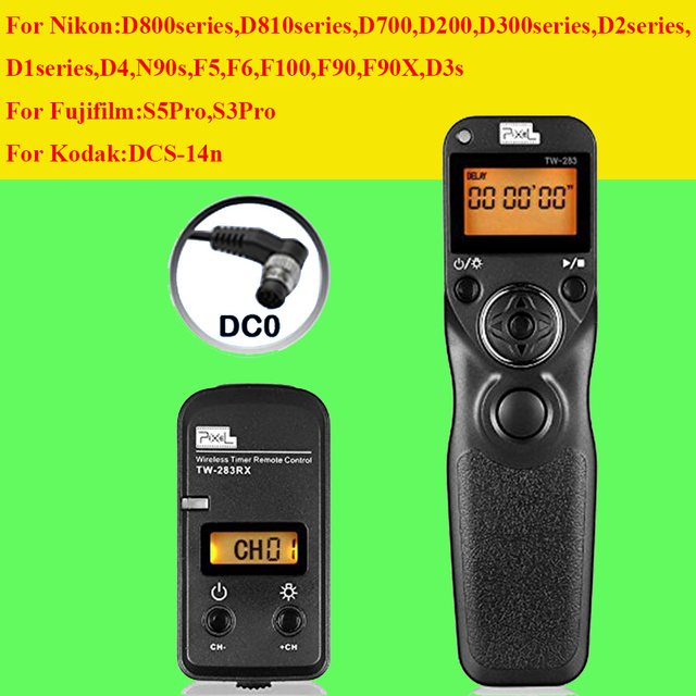 Pixel tw-283 dc0 timer control remoto inalámbrico para nikon d700 de pavo real D810 D800 D3 D300 D200 D300S D3S D2 D1 D810 de Obturación liberación