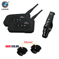2pcs Lexin A4 Motorcycle Bluetooth Helmet Intercom Headset Interphone Support Remote Control With 1pcs Remote Control