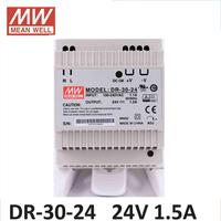 MW Power supply 24V DC Din rail MEAN WELL DR 30 12/24 Single Output 30w dc 24V 12V 5V 15V input DIN rail mounted power supply DR