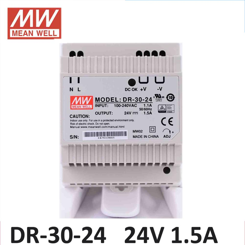 MW <font><b>Power</b></font> <font><b>supply</b></font> 24V DC Din rail MEAN WELL DR-30-12/24 Single Output 30w dc 24V 12V <font><b>5V</b></font> 15V input DIN rail mounted <font><b>power</b></font> <font><b>supply</b></font> DR image