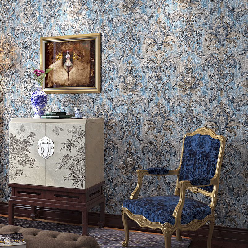 European Style Damascus 3D Wallpaper Hotel Living Room Bedroom Luxury Non-Woven Wallpaper Roll High Quality Deep Embossed Tapety european high quality luxury non woven wallpaper roll cream gilt flocking embossed textured feature bedroom home decor papeles p