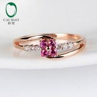 Caimao ювелирные изделия 14 К розовое золото 0.29ctw природных алмазов и Ruby маленькая и тонкое обручальное