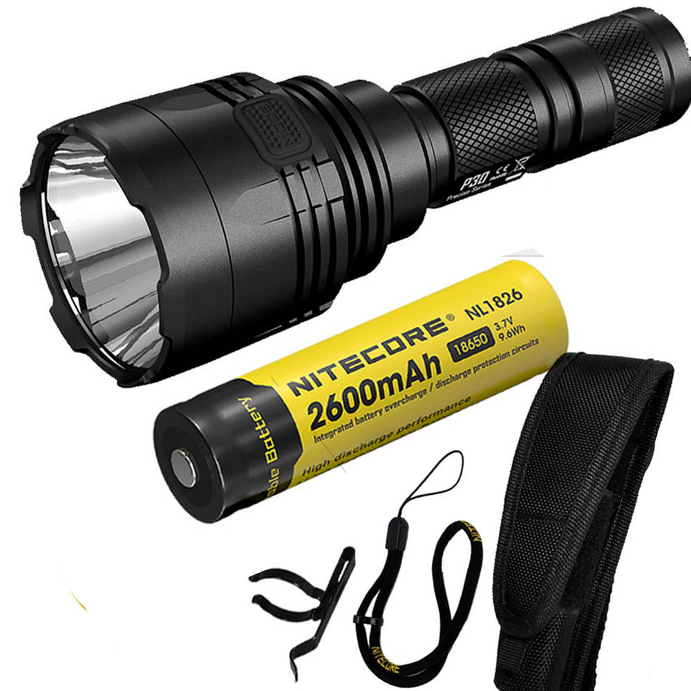 NITECORE Flashlight P30 CREE XP-L HI V3 LED max.1000LM beam distance 618 meter LED outdoor torch search light + 2600mAh battery nitecore p12gt cree xp l hi v3 1000lm led flashlight 320 meter torch new i2 charger 18650 3400mah battery for search