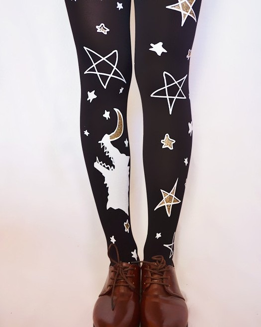 2016 new arrival pantyhose women sale hot HARAJUKU zipper moon bronzier wolf pattern tight high quality product 1pair 6078