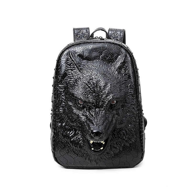 5dc6b9f01843 2017 3D тиснение пространственное дикий волк кожаный рюкзак для подростков  обувь девочек путешествия рюкзак для ноутбука