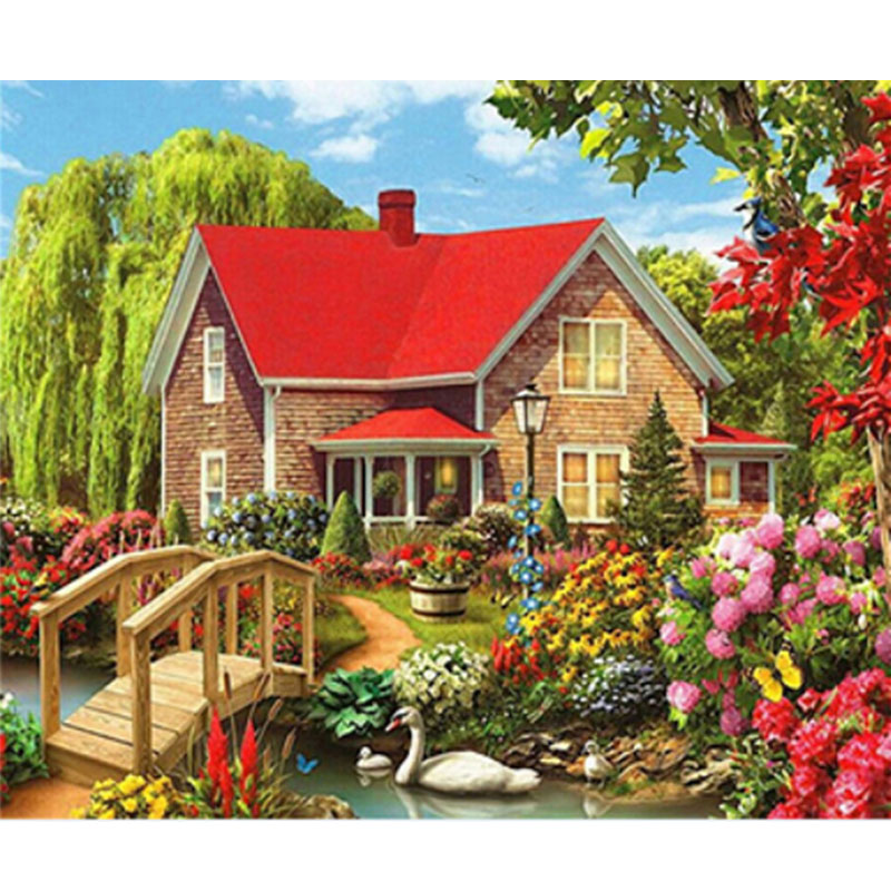 5D Diamond Painting Sitting Cross Stitch Kit Full Rhinestone Village Diamond Embroidery Scenery Tree Park Bench Home Decor in Diamond Painting Cross Stitch from Home Garden
