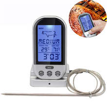 Wireless LCD Screen Food Cooking Thermometer BBQ Timer Digital Meat Probe Thermometer BBQ Temperature Gauge Kitchen Cooking Tool