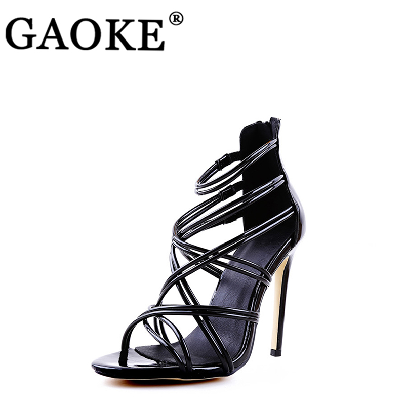 Woman Shoes Sandals Platform High-Heels Cross-Tie Pointed-Toe Bridal Summer Lady