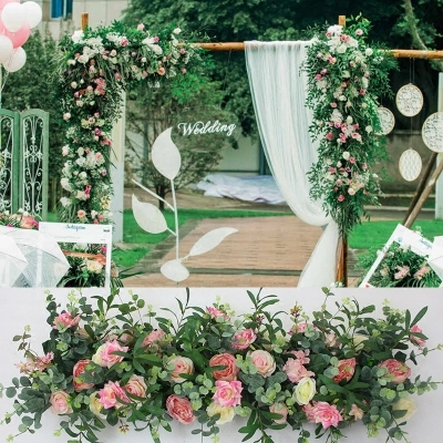 pink with grass green artificial flower wall flower backdrop Stage background Wedding Decoration