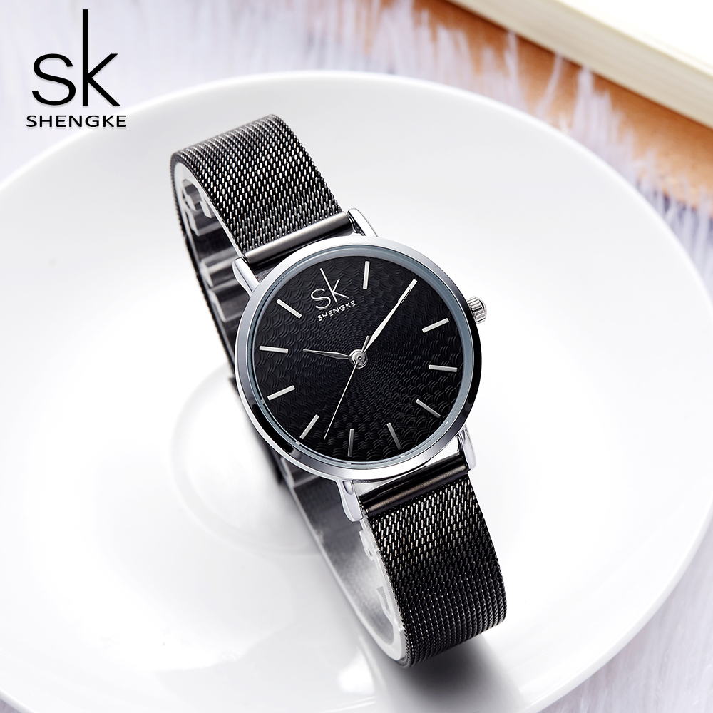 Shengke Brand Luxury Women Watches High Quality Gold Mesh Belt Dress Women Watch Wristwatch Female Clocks Reloj Mujer SK