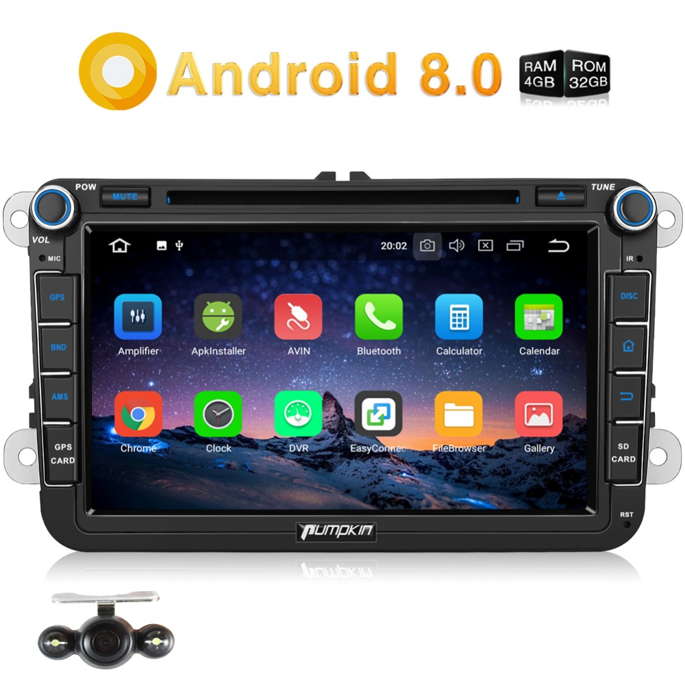Pumpkin 2 Din 8'' Android 8.0 Car DVD Player GPS Navigation For VW/Skoda/Seat/Golf Car Radio Stereo 4GB RAM Wifi 4G DAB+Headunit android 8 0 2 din 7 universal car radio no dvd player gps navigation 4gb ram car stereo fm rds wifi 4g dab headunit