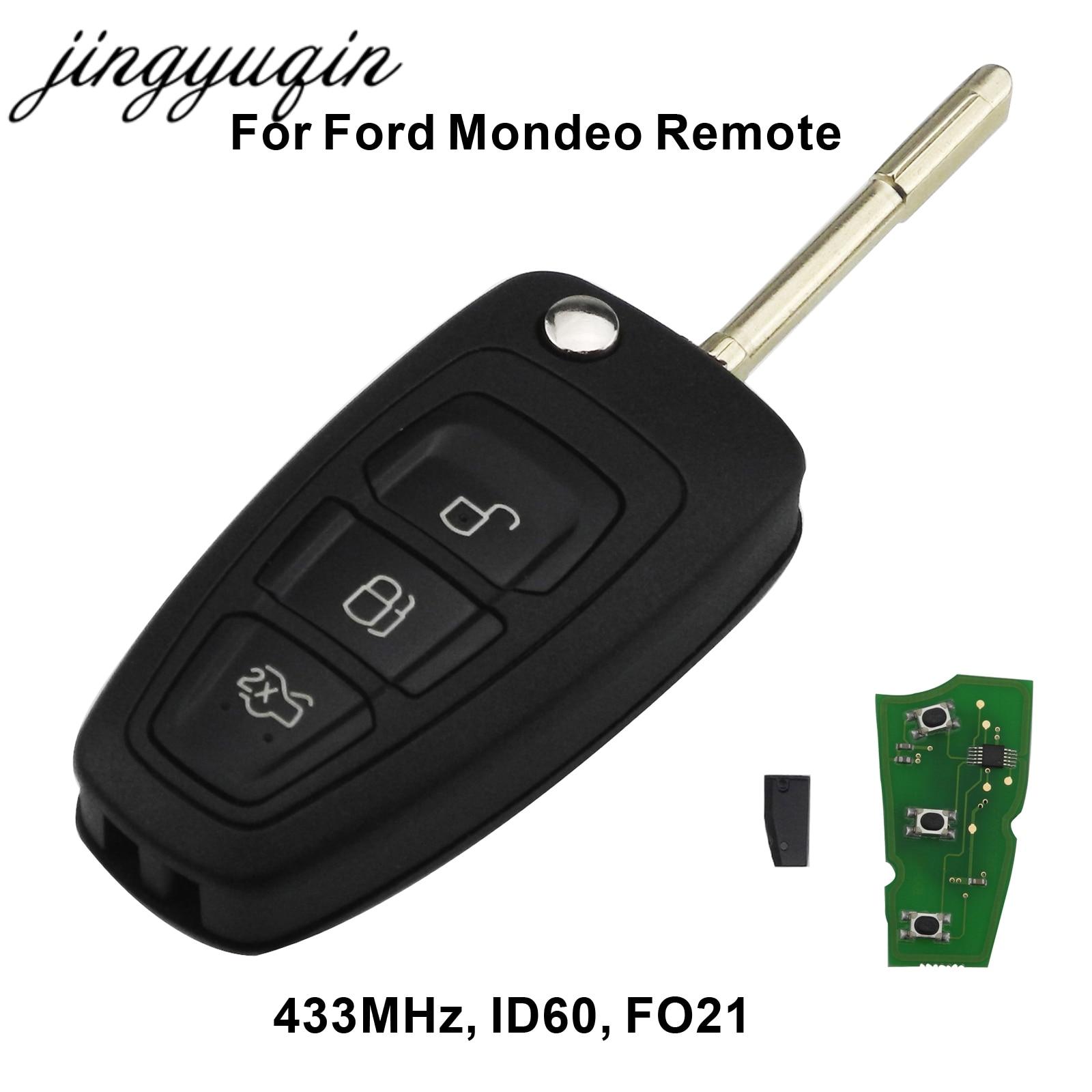 Jingyuqin 3 Boutons Flip À Distance Clé Fob Avec Puce 4D60 Pour Ford Focus Mk1 Mondeo Transit Connect 433 mhz