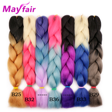 MAYFAIR 5packs Ombre Braiding Hair 24″ 2 Tone Kanekalon Jumbo Braid Hair Extensions 100g/Pack Synthetic Expression Braiding Hair