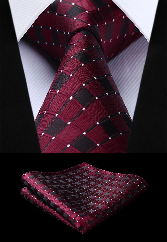 Party Wedding Classic Fashion Pocket Square Tie Woven Men Burgundy Tie Plaid & Check Necktie Handkerchief Set#TC717U8S