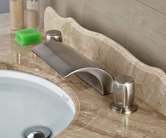 Brief Bathroom Deck Mounted Basin Faucet Nickel Brushed Sink Mixer Tap Dual Handles Basin Mixer stainless steel brushed nickel finished bathroom waterfall basin sink mixer faucet taps dual handles deck mounted