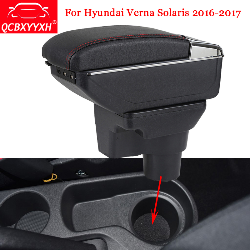 QCBXYYXH ABS Car Armrest Box Center Console Storage Box Decoration Holder Case Accessories For Hyundai Verna Solaris 2016-2017 black interior storage box armrest center console for honda fit jazz 2014 2015