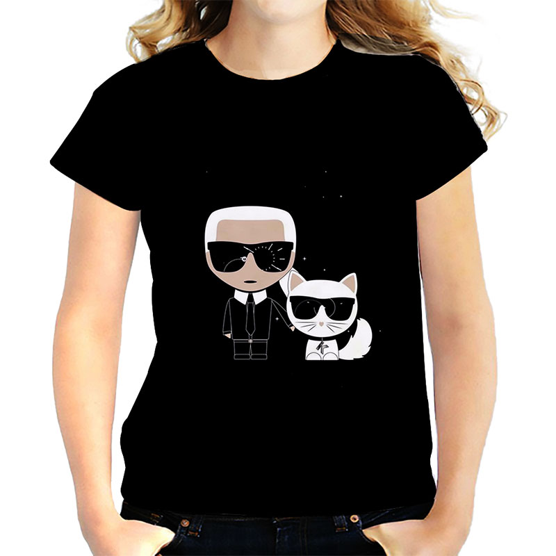 Karl Lagerfeld   T     Shirt   Women/men White Cotton Cat   T  -  shirt   Harajuku Top Couple Clothes Girlfriend Gift Tshirt Femme