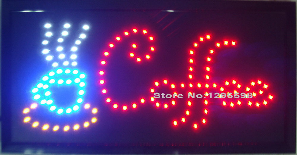 5pcs/lot 2017 direct selling custom 10x19 inch Semi-outdoor coffee store Ultra Bright running led open sign