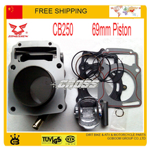 ZONGSHEN 250CC 2 клапанный двигатель с водяным охлаждением CB250 прокладка головки блока цилиндров в сборе 69 мм размер с поршневым кольцом