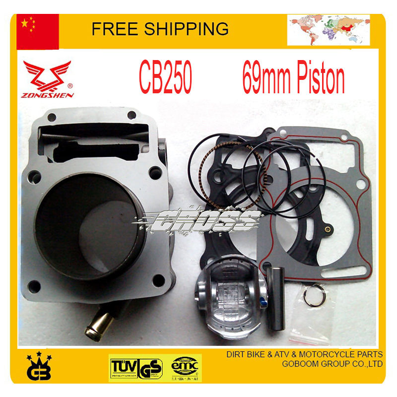 цена на ZONGSHEN 250CC 2 valve engine water-cooled CB250 cylinder block head gasket assembly 69mm size with piston ring set