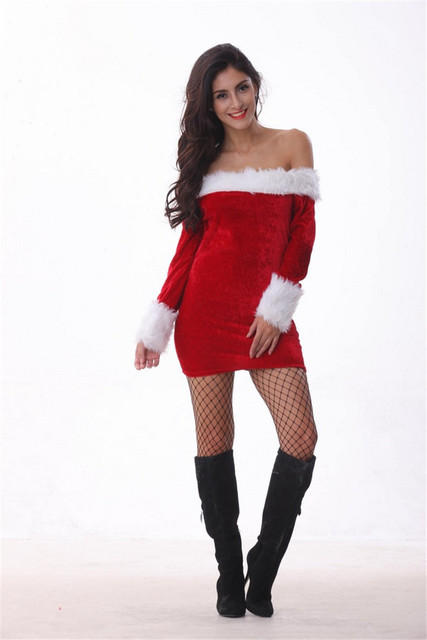 81499a403a197 Sexy Christmas Dress Cute Off Shoulder Shaggy Puff Sleeve Mini Dress Adult  Dance Parties Uniforms Temptation Cosplay Costumes DS