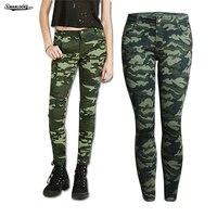 2017 Fashion Women Ankle Length Denim Military Pencil Pant Pocket Stretch Low Waist Zipper Print Green