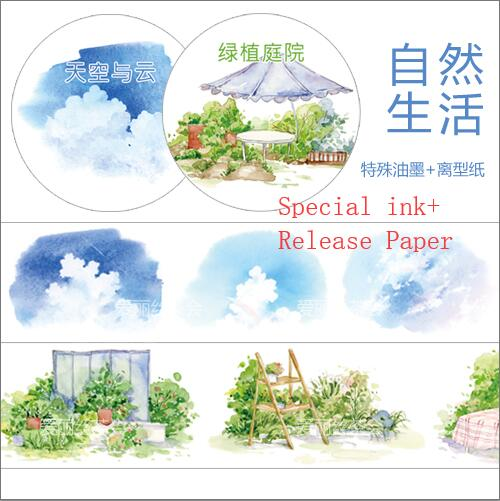 Special ink Green planting courtyard and blue sky beautiful views Washi Tape DIY Planner Diary Scrapbooking Masking Tape EscolarSpecial ink Green planting courtyard and blue sky beautiful views Washi Tape DIY Planner Diary Scrapbooking Masking Tape Escolar