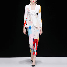Truevoker Spring Designer Set Suit Women's High Quality Long Sleeve Cute Colorful Cartoon Printed Casual Blazer + Pant Suit(China)