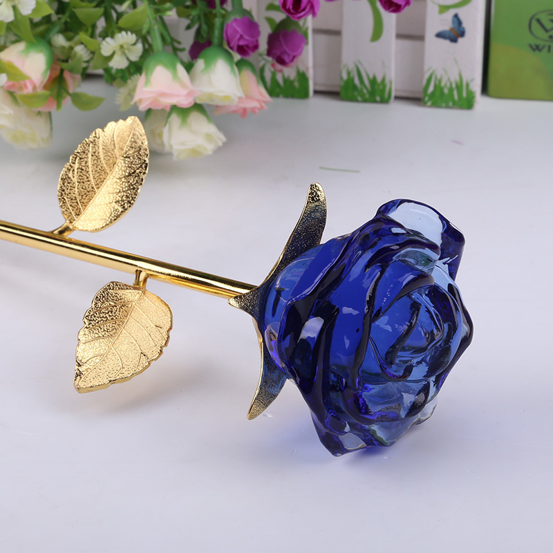 Crystal Glass Rose Flower Figurines Craft Wedding Valentines Day favors and gifts Souvenir Table Decoration Ornaments Cheap
