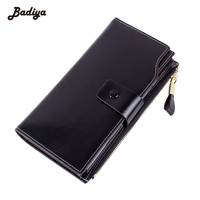 High Quality 3 Fold Womens Wallet Fashion Women Long Wallets Real Genuine Leather Ladies Clutch Purse