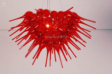 Free Shipping High Ceiling Blown Glass Red Crystal Chandelier  цена