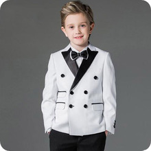 Baby Boys Suits Costume for Boy 2019 Double Breasted Kids Blazers Boy Suit Peaked Lapel Formal Wedding Wear Children Clothing fashion kids baby boy blazers suit formal black white clothing prom party wedding casual costume flower boy outfit the suits