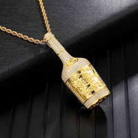 Iced Out Bling Champagne Bottle Rhinestone Rope Chain Gold Color Pendants & Necklaces For Men Hip Hop Jewelry Dropshipping