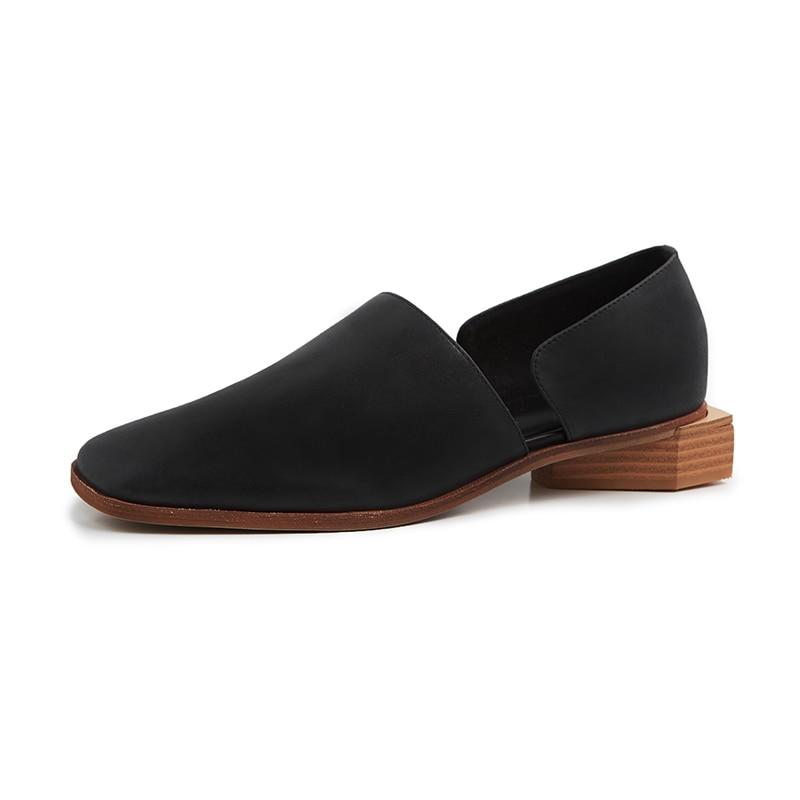 Kcenid Vrouwen platte schoenen 2019 echt leer vrouwelijke schoenen zwart abrikoos mode vierkante teen casual loafers voor vrouw enkele schoenen-in Platte damesschoenen van Schoenen op  Groep 2
