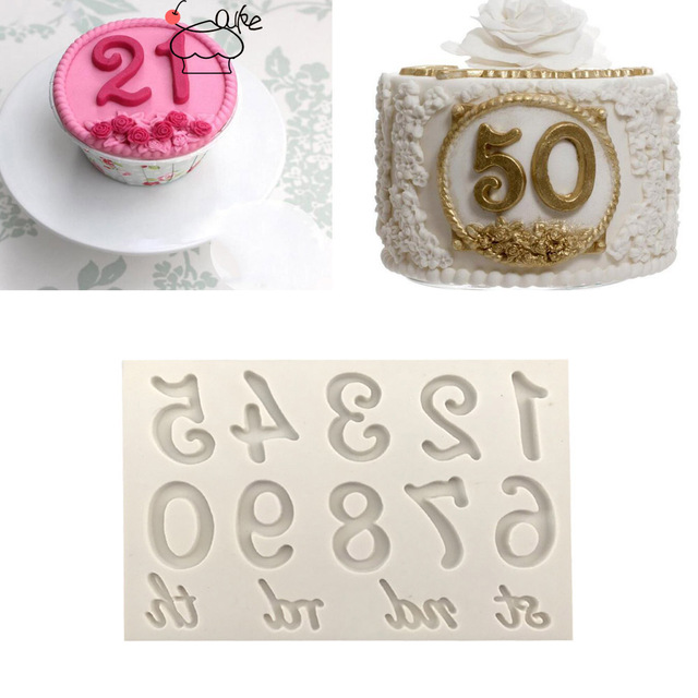 Aouke Molds Large Numbers Silicone Mold 3D Fondant Mold Cakes Decorating Tools DIY Gumpaste  Kitchen Bakeware K134