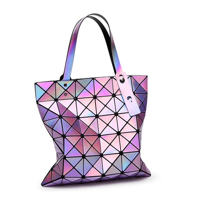 d19dbf6aba ElUnico BaoBao women pearl bag laser sac bags Diamond Lattice Sequins Tote geometry  Quilted shoulder bag Foldable handbag 1291-6