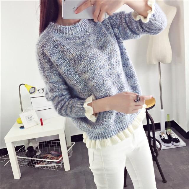Wanita Rajutan Sweater 2018 New Fashion Lengan Panjang O-Neck Tops - Pakaian Wanita - Foto 6