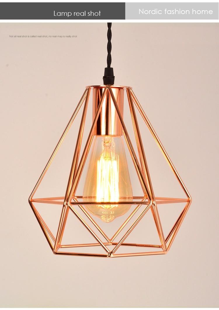 Lukloy Modern Gold Led Pendant Light Kitchen Light Fixture Diamond