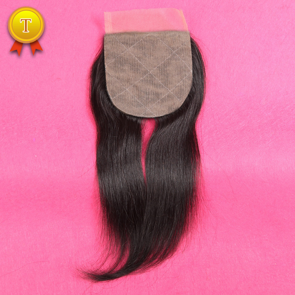 ФОТО 7A Thick Ends Virgin Brazilian Silk Base Closure Straight Middle/Free/3 Part Silk Closures Unprocessed Human Silk Lace Closure