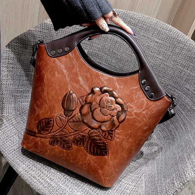 Brand Women Handbag Rose Print Lady Tote High Quality Leather Large Capacity Ladies Shoulder Bag Luxury Messenger Bag For Women