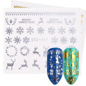 Image 4 - Juego de pegatinas doradas y plateadas para uñas, copos de nieve, diseños navideños, calcomanías para decoración de uñas, deslizantes, TRSTZ YA de manicura, 16 Uds.