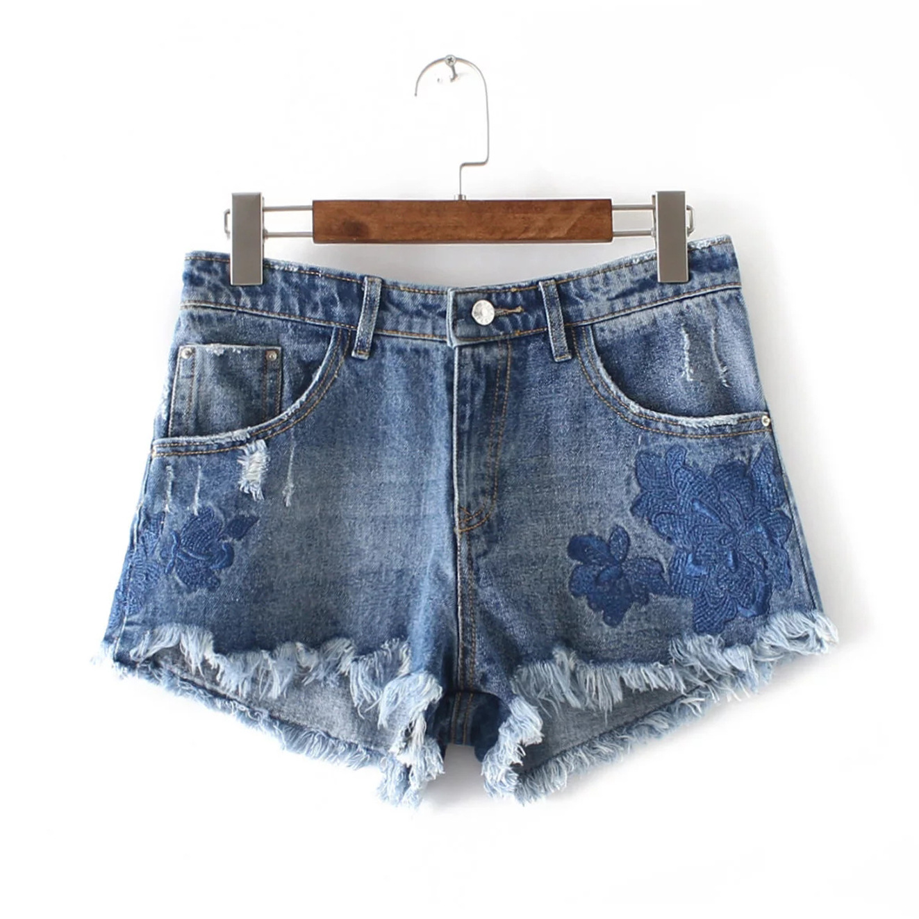New Womens wear irregular edges embroidered Jean Shorts girl s fashion denim shorts on sale