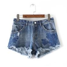 Новые Женская одежда нерегулярные края вышитые Джинсовые Шорты девушки моды джинсовые шорты на продажу