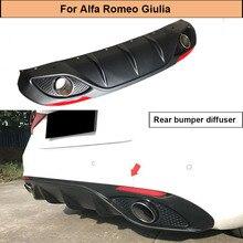 купить Car Rear Bumnper Diffuser Lip For Alfa Romeo Giulia Sedan 4 Door 2016 2017 Quadrifoglio TI Rear Diffuser Spoiler with Exhaust дешево